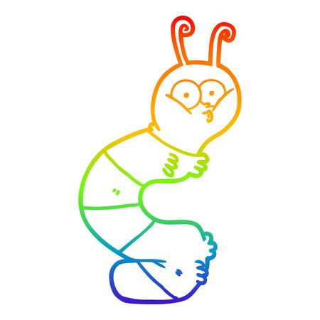 rainbow gradient line drawing of a funny cartoon caterpillar