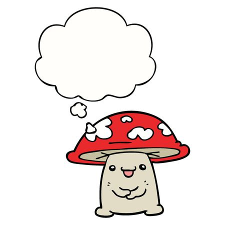 cartoon mushroom character with thought bubble