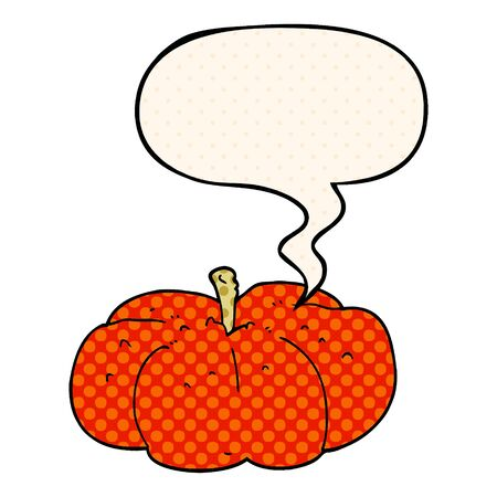 cartoon pumpkin with speech bubble in comic book style