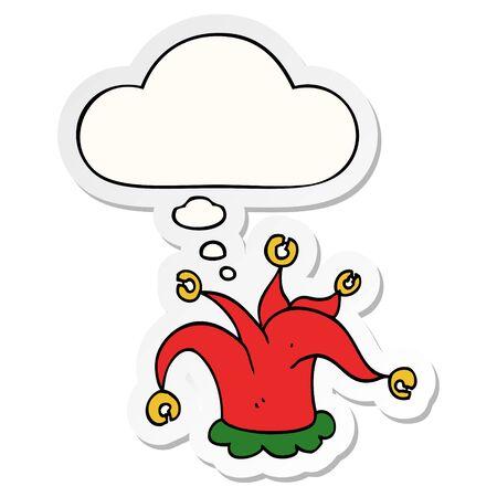 chapeau de bouffon de dessin animé avec bulle de pensée comme autocollant imprimé Vecteurs
