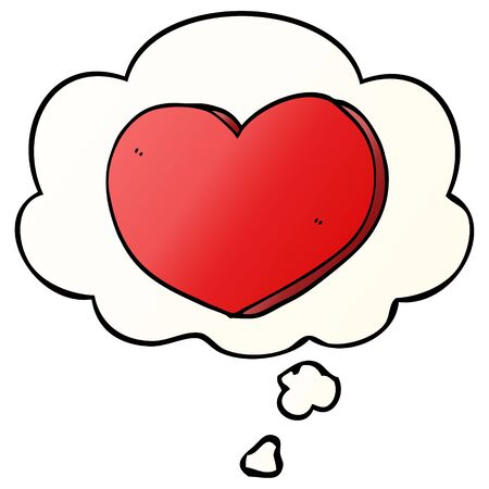 cartoon love heart with thought bubble in smooth gradient style Ilustração