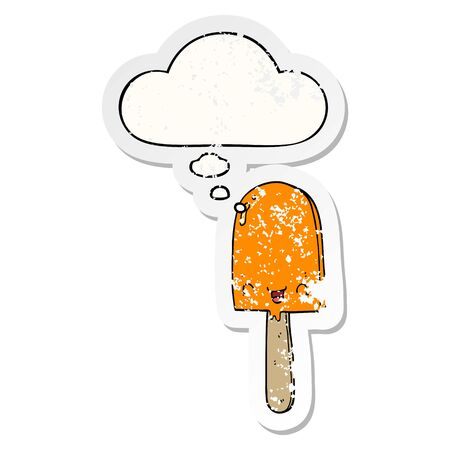 cartoon ice lolly with thought bubble as a distressed worn sticker Çizim