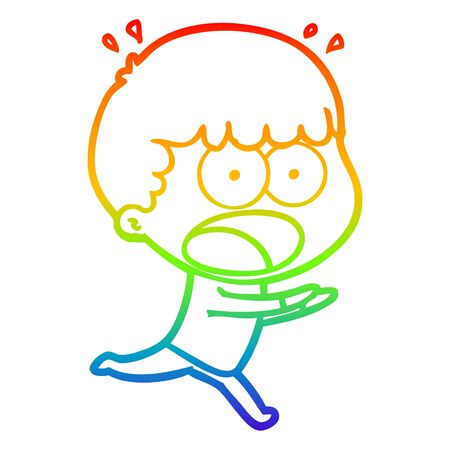 rainbow gradient line drawing of a cartoon shocked man