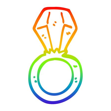 rainbow gradient line drawing of a cartoon engagement ring