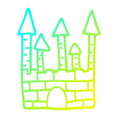 cold gradient line drawing of a cartoon traditional castle