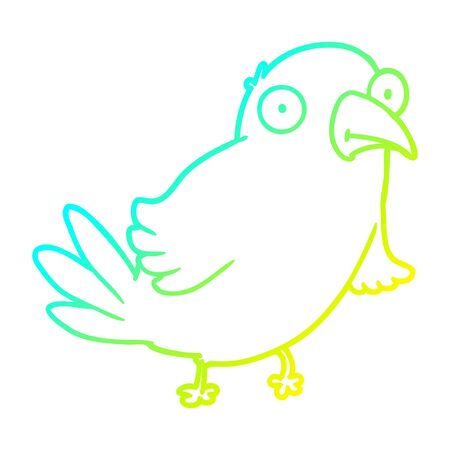 cold gradient line drawing of a cartoon bird
