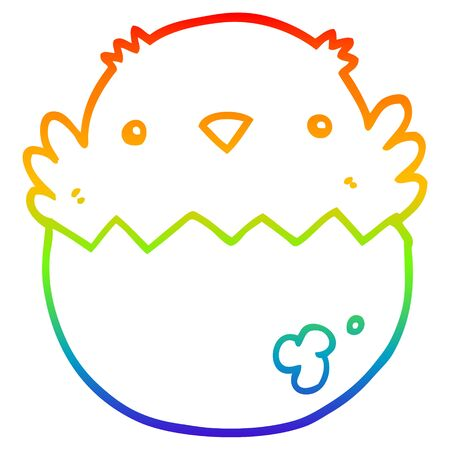 rainbow gradient line drawing of a cartoon chick hatching from egg
