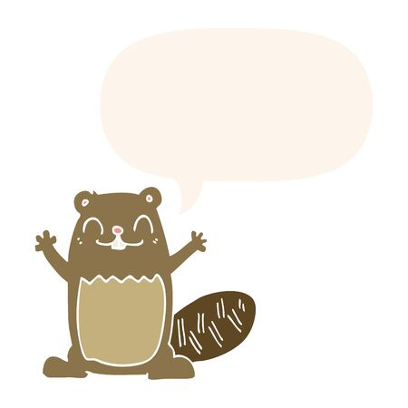 cartoon beaver with speech bubble in retro style