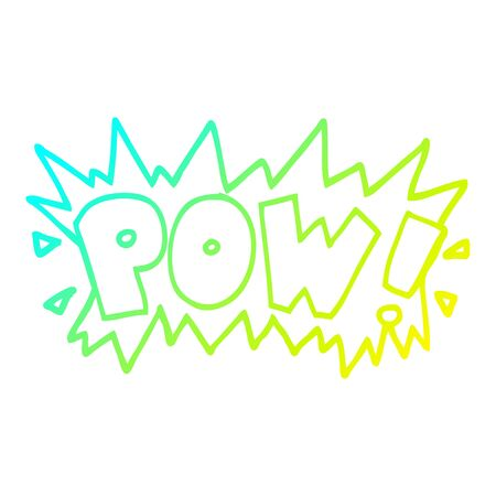 cold gradient line drawing of a cartoon word pow
