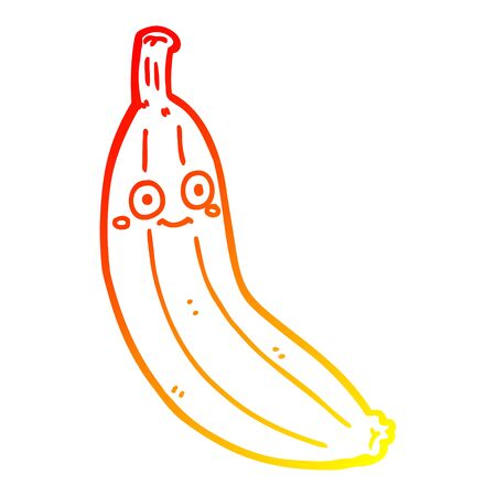 warm gradient line drawing of a cartoon banana Illustration