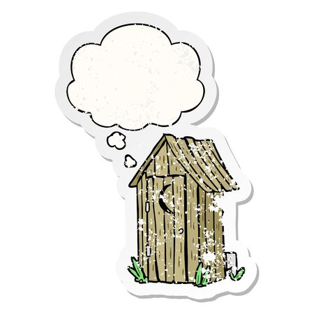 cartoon outdoor toilet with thought bubble as a distressed worn sticker Illustration