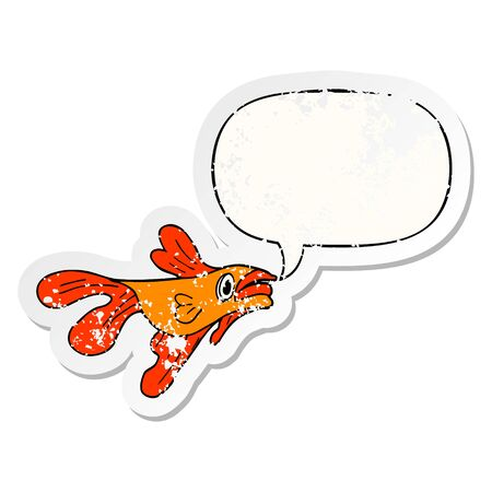 cartoon fighting fish with speech bubble distressed distressed old sticker 版權商用圖片 - 128628328