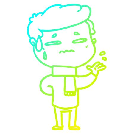 cold gradient line drawing of a cartoon anxious man