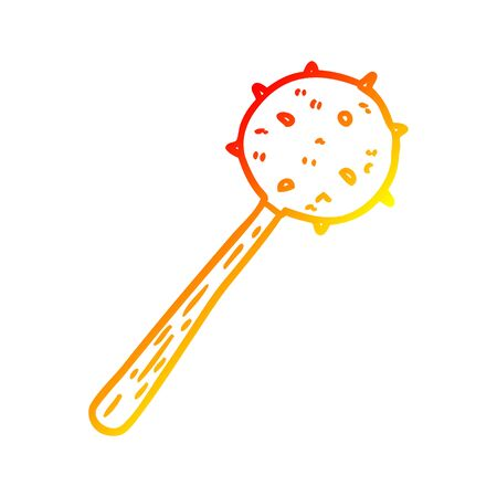 warm gradient line drawing of a medieval mace weapon