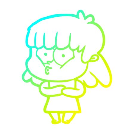 cold gradient line drawing of a cartoon whistling girl Illustration