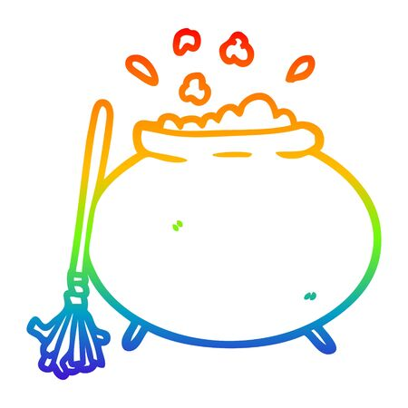 rainbow gradient line drawing of a cartoon cauldron Stock Illustratie