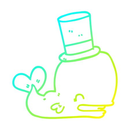 cold gradient line drawing of a cartoon whale wearing top hat
