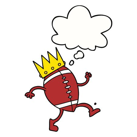 football with crown cartoon  with thought bubble Ilustração