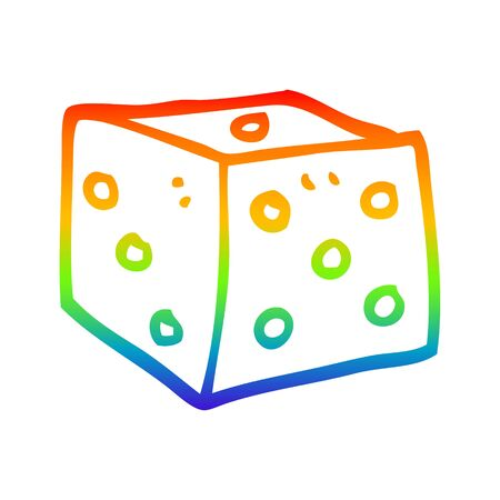 rainbow gradient line drawing of a cartoon classic dice Stockfoto - 128747840