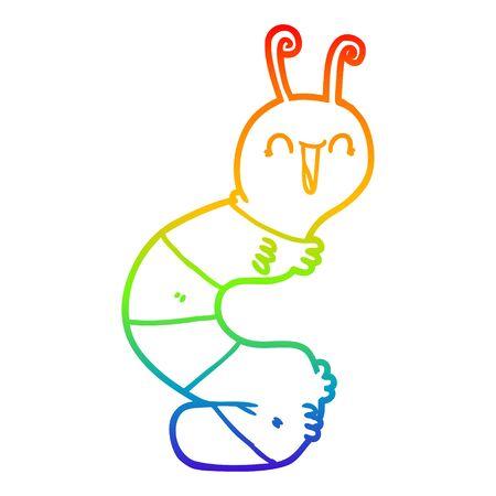 rainbow gradient line drawing of a cartoon happy caterpillar Ilustrace