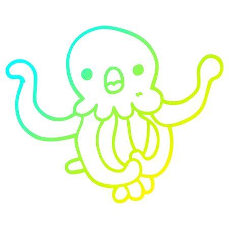 cold gradient line drawing of a cartoon jellyfish Archivio Fotografico - 129012977