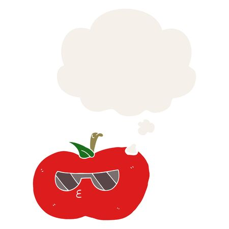 cartoon cool apple with thought bubble in retro style