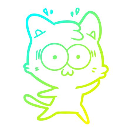 cold gradient line drawing of a cartoon surprised cat Illustration