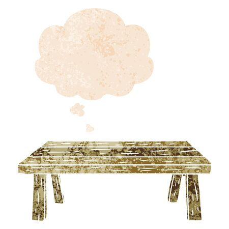 cartoon table with thought bubble in grunge distressed retro textured style Foto de archivo - 128651183
