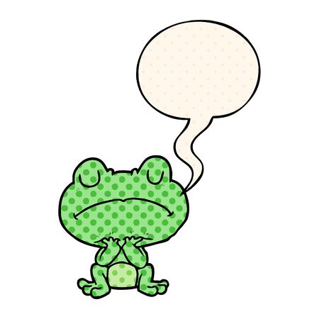 cartoon frog waiting patiently with speech bubble in comic book style Ilustrace
