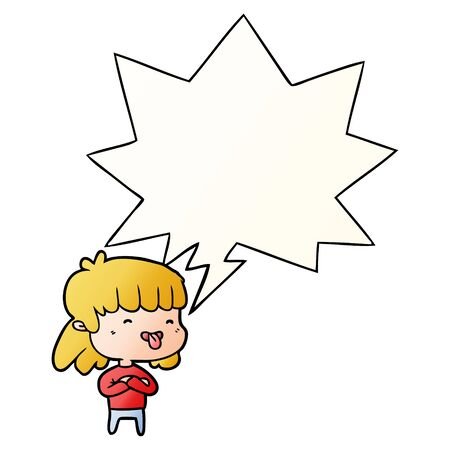 cartoon girl sticking out tongue with speech bubble in smooth gradient style