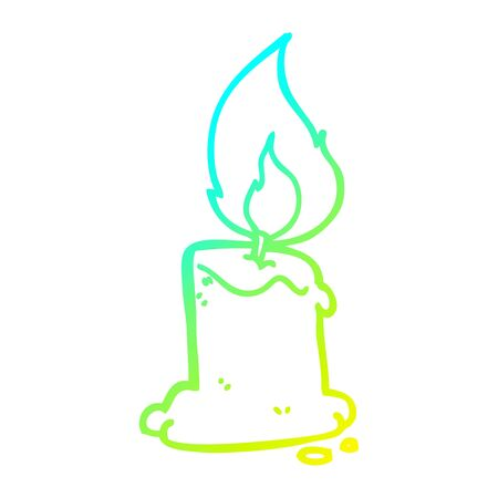 cold gradient line drawing of a cartoon candle Illusztráció