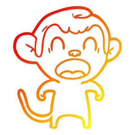 warm gradient line drawing of a shouting cartoon monkey Vetores