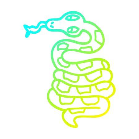 cold gradient line drawing of a cartoon poisonous snake Ilustração