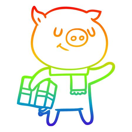 rainbow gradient line drawing of a happy cartoon pig with christmas present