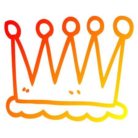 warm gradient line drawing of a cartoon crown symbol Ilustração