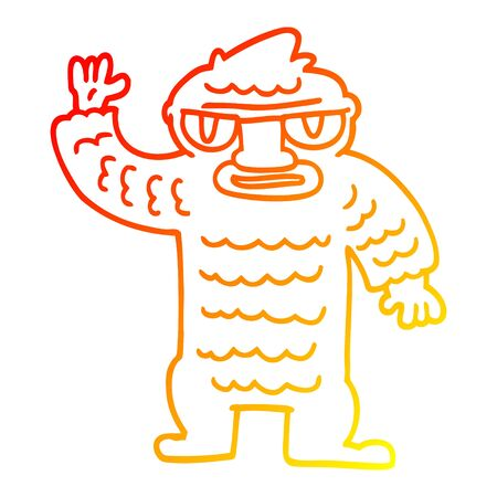 warm gradient line drawing of a cartoon big yeti