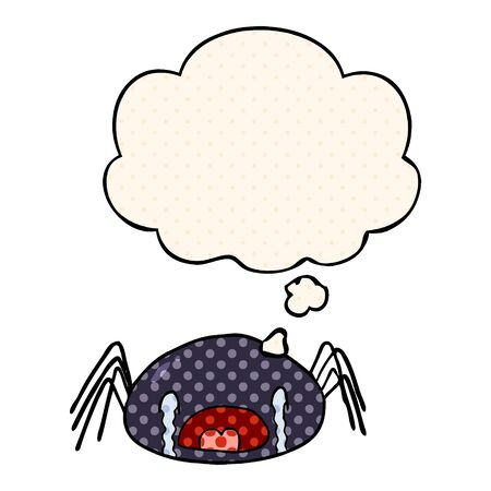 cartoon crying spider with thought bubble in comic book style Illustration