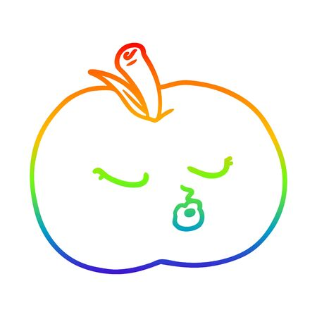 rainbow gradient line drawing of a cartoon apple Illustration