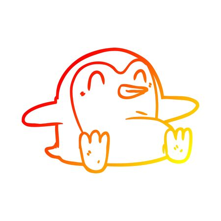 warm gradient line drawing of a penguin Cartoon Çizim