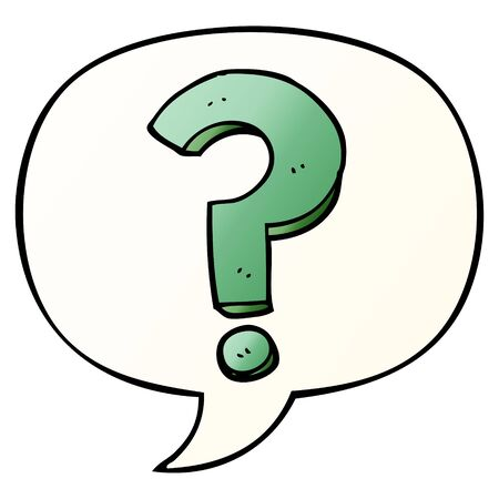 cartoon question mark with speech bubble in smooth gradient style