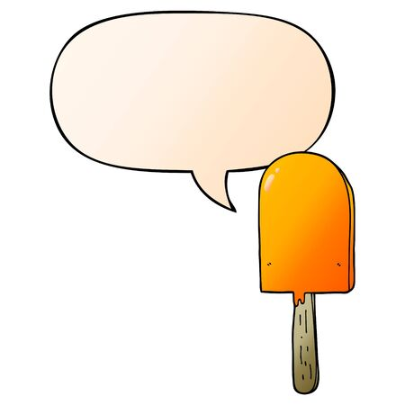 cartoon lollipop with speech bubble in smooth gradient style