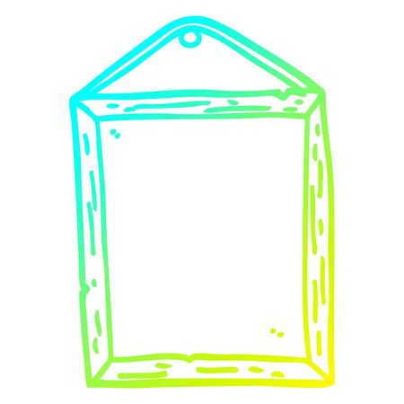 cold gradient line drawing of a cartoon picture frame