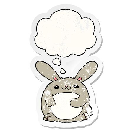 cartoon rabbit with thought bubble as a distressed worn sticker