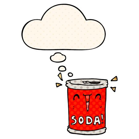 cartoon soda can with thought bubble in comic book style