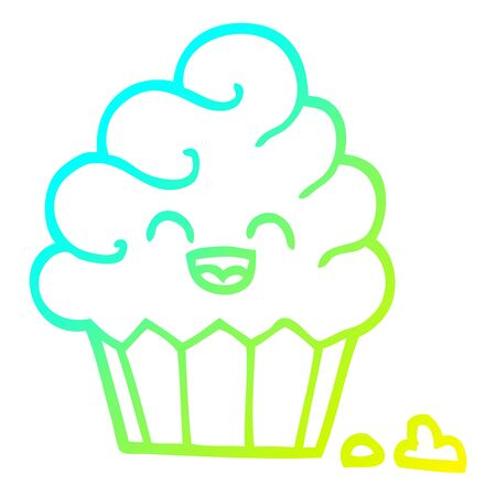 cold gradient line drawing of a cartoon cupcake 向量圖像