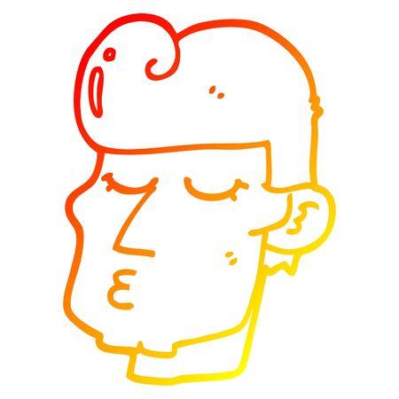warm gradient line drawing of a cartoon handsome man Zdjęcie Seryjne - 128747929