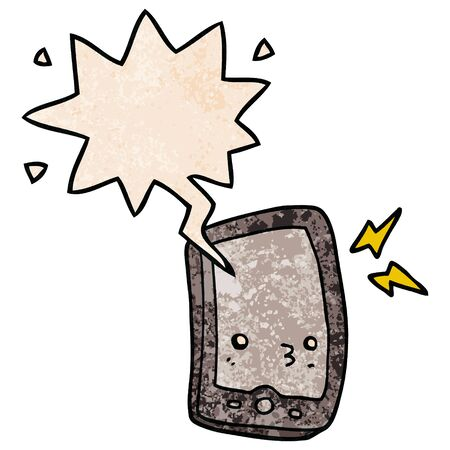cartoon mobile phone with speech bubble in retro texture style