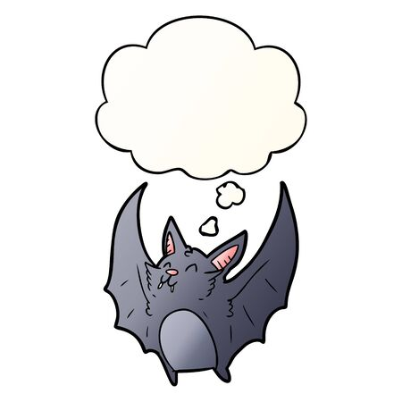 cartoon halloween bat with thought bubble in smooth gradient style