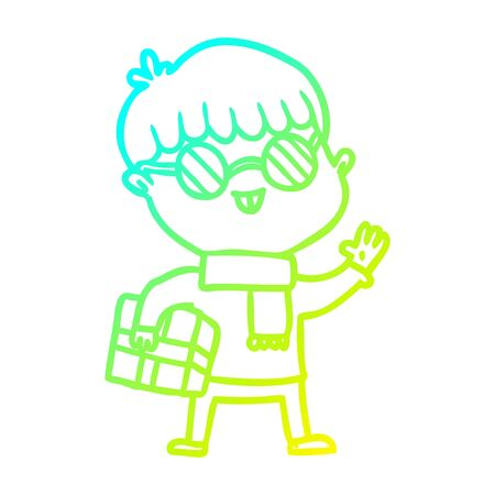 cold gradient line drawing of a cartoon boy wearing spectacles Ilustracja