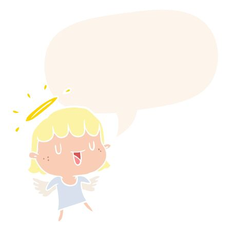 cute cartoon angel with speech bubble in retro style